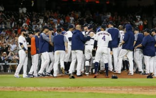 Astros top Rangers as benches clear, Brewers win