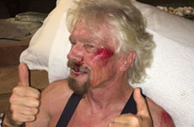 Branson's 'life flashed before eyes' in bicycle accident