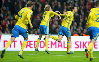 Denmark 2 Sweden 2 (3-4 agg): Inspired Ibrahimovic seals qualification