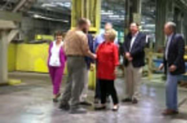 Clinton, Kaine visit Pennsylvania factory
