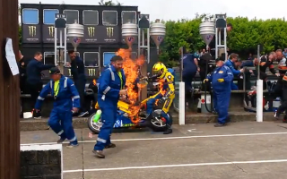 Video: Isle of Man TT racer and mechanic engulfed in flames