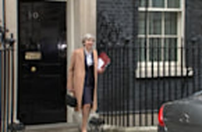 Theresa May departs Downing Street to trigger Brexit