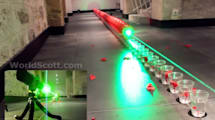Sinnfrei aber toll: Grüner Laser lässt 100 rote Ballons platzen