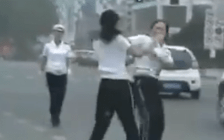 Video: Chinese traffic cops ruck in the street