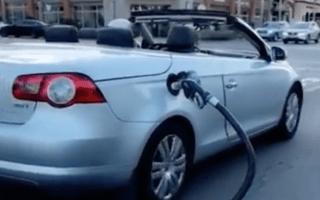 Elderly man filmed driving with fuel pump still attached