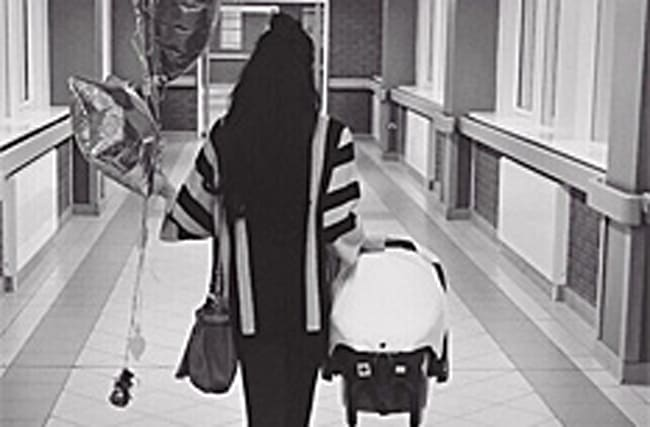 Celeb shares photo as she leaves hospital with new baby