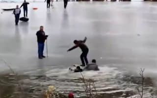 Video: Rescue of man from freezing lake goes wrong as others fall in