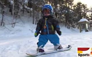 Video: 18-month-old snowboarder wows on the slopes