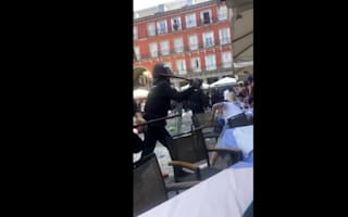 Leicester fans clash with police in Madrid
