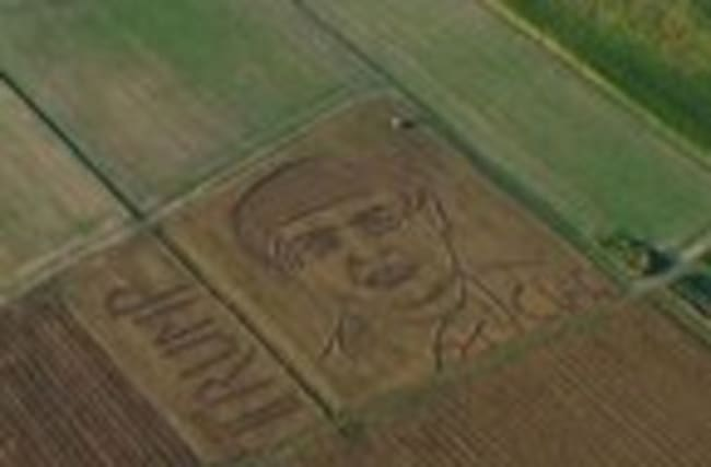 Raw: Giant Trump Portrait in Italian Field