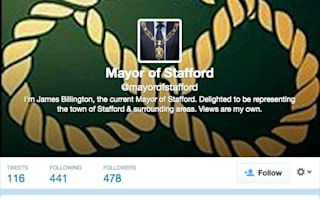 Row over fake Twitter account for Stafford Mayor