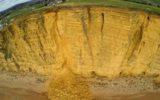 Police warning after 'large' landslide at Dorset beach
