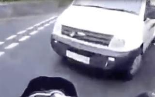 Sickening video shows biker thrown into the air in van crash