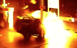 CCTV camera captures horrific crash and fireball in Seattle petrol station