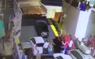 Impatient motorist drives off ferry before it has docked