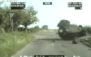 Dramatic police chase ends with car flipped on its roof