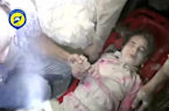 Five year old girl pulled from rubble in Aleppo