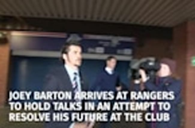 Joey Barton arrives at Ibrox Stadium to hold talks to resolve his future