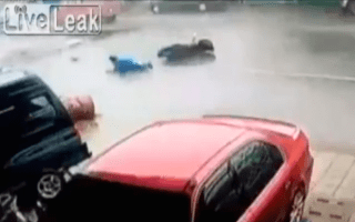 Man knocked off scooter by sign in super typhoon