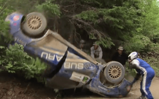 Rally driver manages to continue race after flipping car