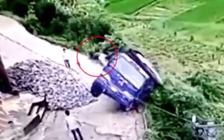 This man had to leap from his truck as it toppled off a ledge