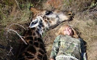Outcry after Ricky Gervais tweets horrific picture of female hunter posing with dead giraffe