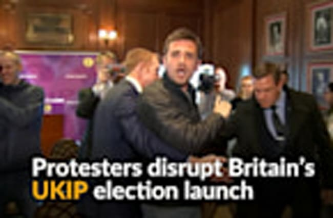 Anti-EU UKIP election launch disrupted by protesters