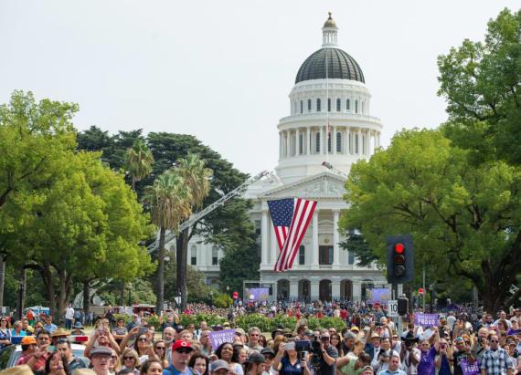 Stabbing, violence erupts at Sacramento rally