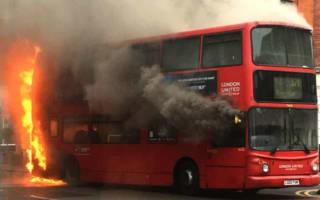 London bus bursts into flames