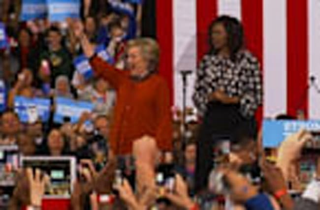 First Lady and Clinton Campaign Together