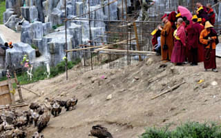 In pictures: Tibetan sky burial where the dead are fed to vultures