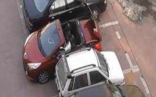 Convertible driver exacts revenge on parking space thief
