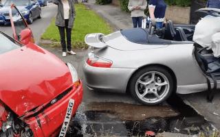 Porsche driver confronts motorist moments after shocking crash