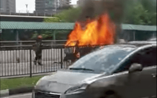 Terrifying taxi explosion caught on video