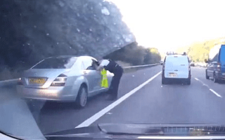 Mercedes driver cheats traffic by using the hard shoulder but is immediately caught in hilarious video