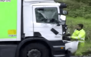 Man attacks lorry with shovel in shocking road rage attack