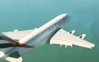 World's biggest passenger plane flies right under helicopter (video)