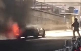 Lamborghini worth £300,000 catches fire in London