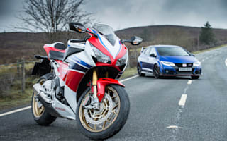 Honda Civic Type R takes on the Honda Fireblade in Wales