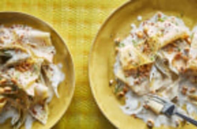 Pasta with Baby Artichokes, Mascarpone, and Hazelnuts