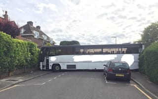Residents capture hilarious moment bus gets stuck in street