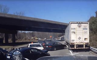Dashcam captures ridiculous multi-car pile-up