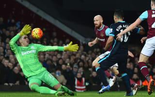 West Ham 2 Manchester City 2: Aguero double saves visitors
