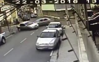 Woman has lucky escape after being hit by out-of-control car