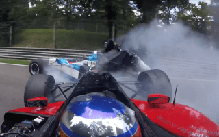 Classic racing cars smashed in BOSS GP accident