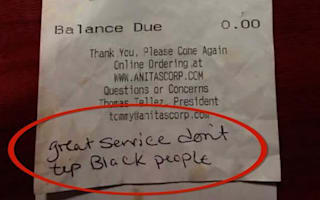 Waitress receives racist note instead of tip