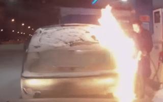 Woman ignites car after using lighter near filler cap