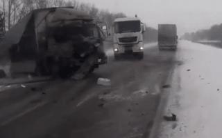 Driver narrowly escapes death in multi-lorry crash in Russia (video)