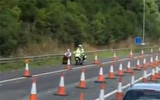 Pensioner drives mobility scooter wrong way down M1 (video)