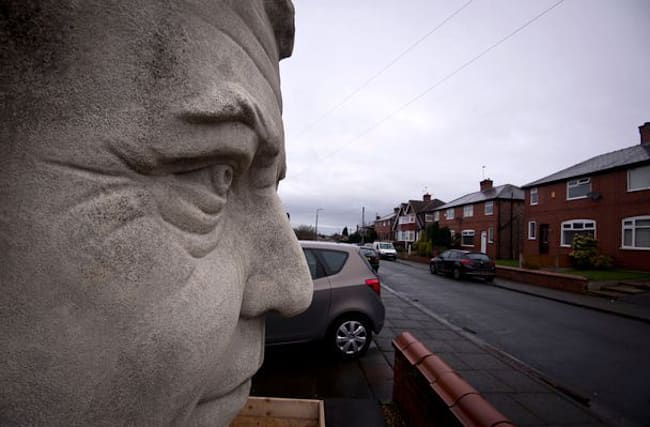 Giant Jeremy Clarkson sculpture appears in Salford garden